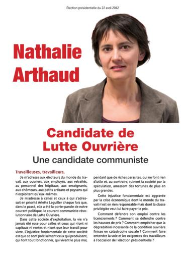 Profession de foi de Nathalie Arthaud au premier tour de l'élection présidentielle 2012